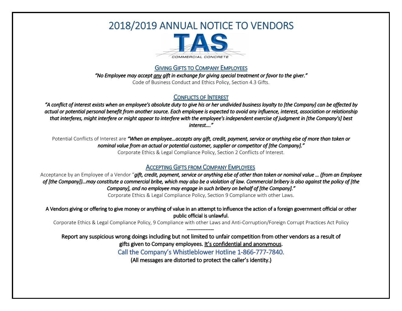 Annual Notice to Vendors